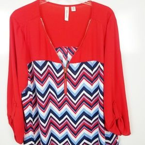 2X Tacera Blouse 3/4 Length Sleeve w Button